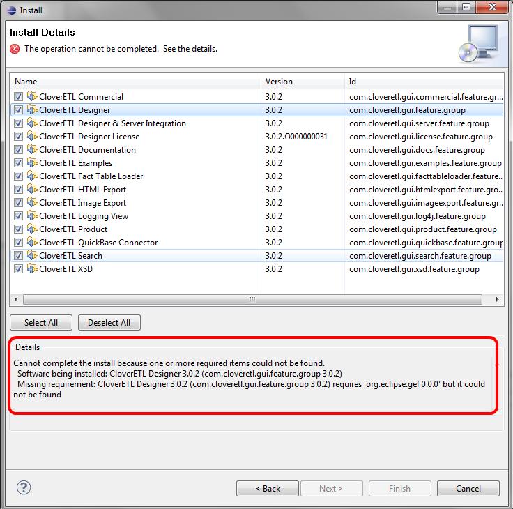 CloverDX dependencies not met - Plugins in Eclipse