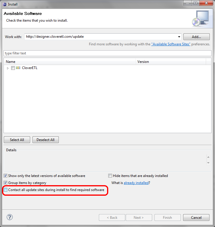 Contact all update sites checkbox - Plugins in Eclipse
