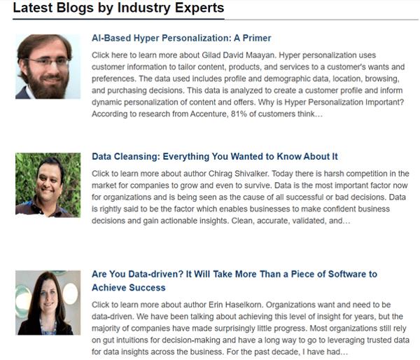 Data-driven business transformation blogs - Dataversity